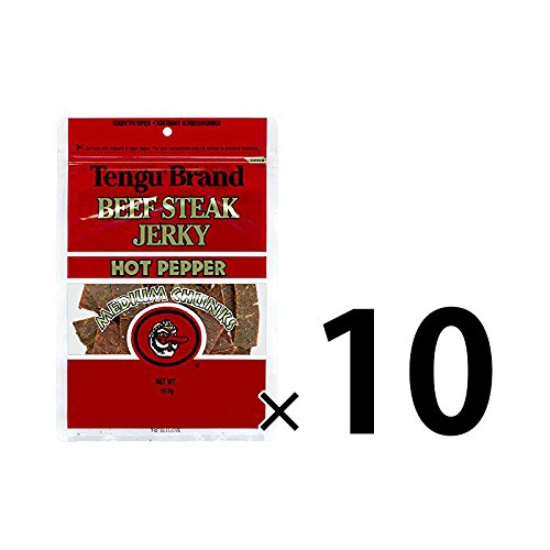 テング ビーフジャーキー ミディアムチャンク 160g (ホット)10袋セット おつまみ 天狗