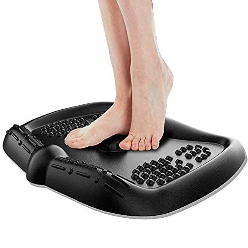 Anti-Fatigue Standing Desk Mat, QooWare Ergonomic Comfort Floor Mat with Foot Massage Ball, Non-Slip Standing Mat for Office Home Kitchen Garage, Black Desk Accessories