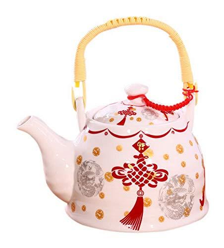 Spicy Meow Teiera bollita bollitore in Ceramica Fredda con Manico in Legno, 35 oncia, Nodo Cinese Rosso