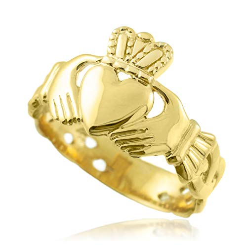 10k Gold Mens Claddagh Trinity Band Ring (9.5)