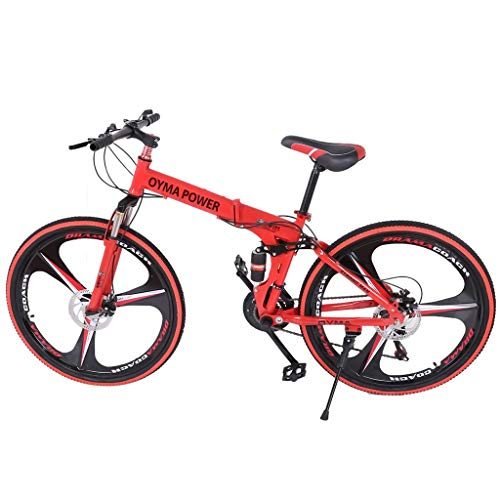 Folding Mountain Bike, 26in 21 Speed Bicycle, Full Suspension MTB Bikes with Disc Brakes (Red)
