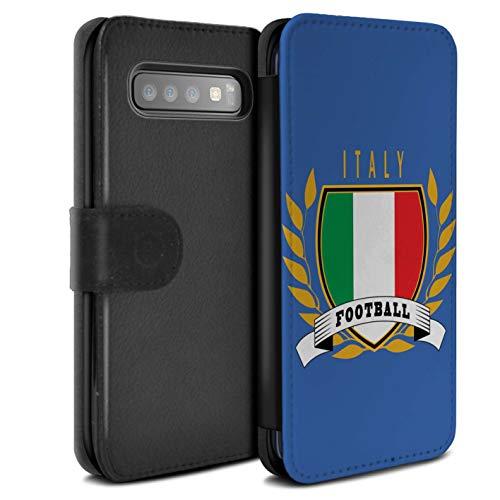 eSwish Coque/Etui/Housse Cuir PU Case/Cover pour Samsung Galaxy S10 / Italie/Italien Design/Emblème Football Collection
