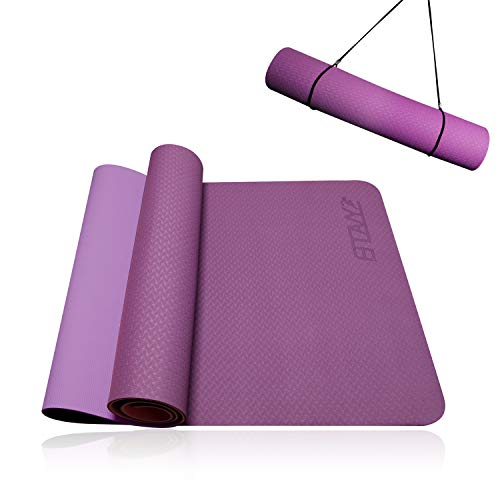 Yoga Mat Thick,Exercise Mat For Floors,Workout Mat For Home,Fitness mat,Pilates Mat,Travel Yoga Mat, Non-Slip Soft,Simple yoga mat for Men Women Professional Amateur Beginner with carrying strap 1/4''