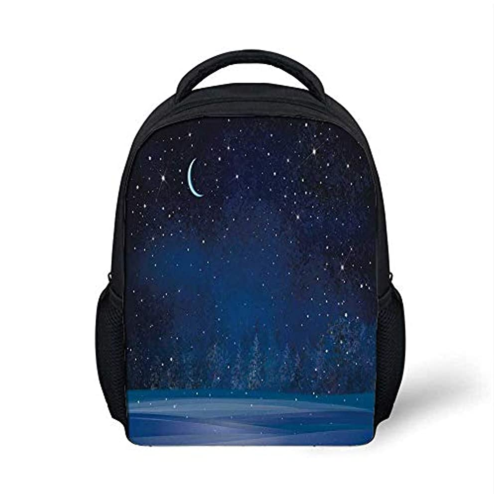 Night Stylish Backpack,Winter Wonderland at Night Snowy Woodland Magical Fantastic Forest Nature Scenery for School Travel,9.4