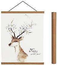 Magnetic Poster Hanger Frame, 8x10 8x12 8x24 Light Wood Wooden Magnet Canvas Artwork Print Dowel Poster Hangers Frames Hanging Kit (Teak Wood, 8