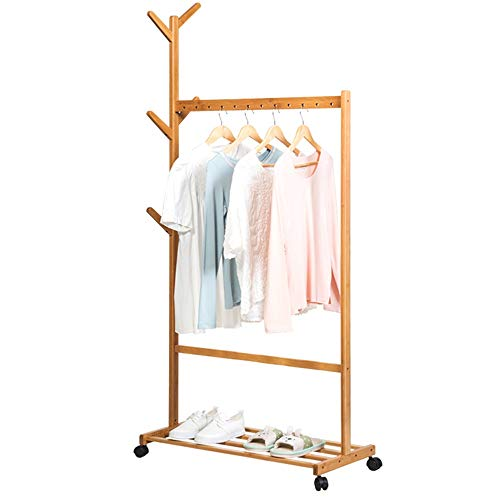 Coat Tree Floor Coat Rack Bedroom Solid Wood Hanger Modern Minimalist Mobile Rack Assembly Hanger (Color : Wood, Size : 90cm)