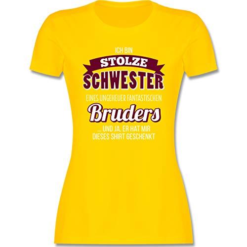 Schwester & Tante - Ich Bin stolze Schwester - L - Gelb - grosser Schwester - L191 - Tailliertes Tshirt für Damen und Frauen T-Shirt