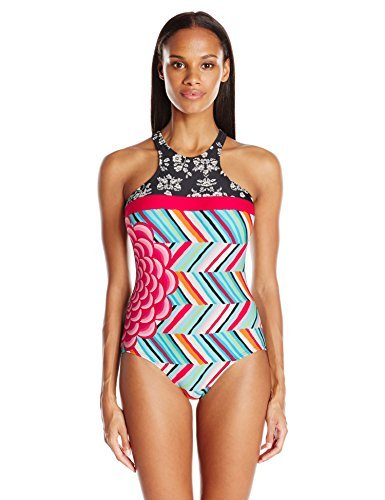 COCO RAVE Women's High Neck One Piece Swimsuit with Zipper Back Closure, Summer Patch Jet Black, 34 B/C-Cup