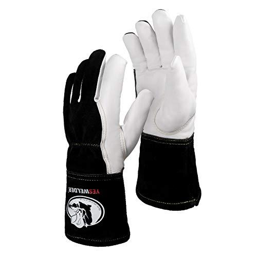YESWELDER Premium Goatskin TIG Welding Gloves   Top Grain Leather   High Dexterity   True - Fit-Large