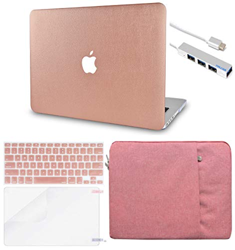 LuvCase 5 in 1 Laptop Case for MacBook Pro 13' (2016-2020) w/wo Touch Bar A2159/A1989/A1706/A1708 Leather Hard Shell Cover, Sleeve, USB Hub 3.0, Keyboard Cover & Screen Protector (Rose Gold Leather)