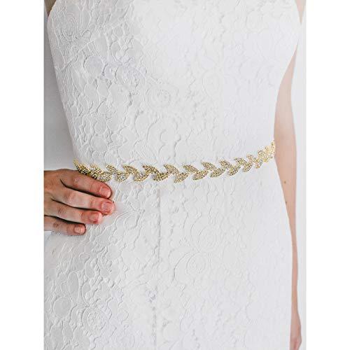 SWEETV Rhinestone Leaf Bridal Belt Wedding Belt Crystal Headband Bridesmaid Sash for Dress & Gown, Gold