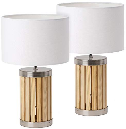 BRUBAKER - Lampe de table/de chevet - Lot de 2 - Design moderne - Hauteur 41 cm - Pied en Bois & Métal - Abat-jour en Tissu/Beige