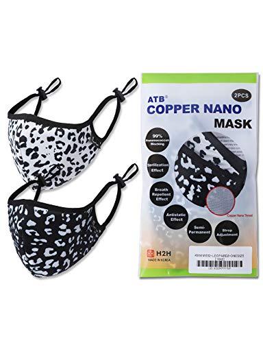 H2H 2Pcs Unisex Mask Copper Nano Mask Washable Reusable Cloth Fashion Masks (LEOPARD2)