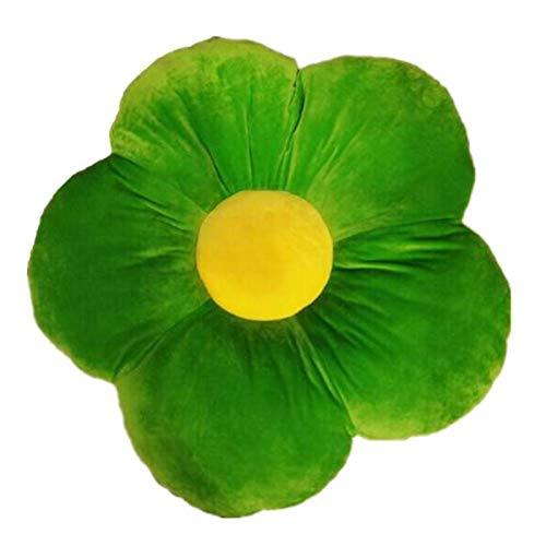 HELILI 19,7 Blume Boden Kissen Blume-FöRmige PlüSch Kissen, Bequeme Stuhl Kissen Home Office Blume Geformt Kissen Green