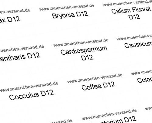 65 Universal Globuli/Glasröhrchen Etiketten - fertig beschriftet/gedruckt
