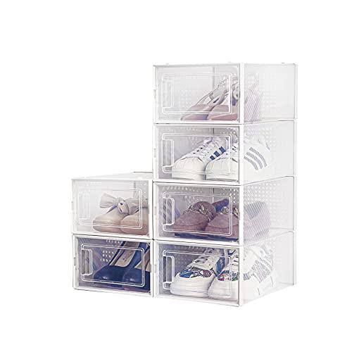 Cajas de Zapatos, Paquete de 6 Cajas de Almacenamiento de Zapatos Transparentes, Cajas para Zapatos de Plástico Plegable, 35×25×18.7cm por Casillero, para Zapatos, Tacones Altos, Zapatillas de Deporte