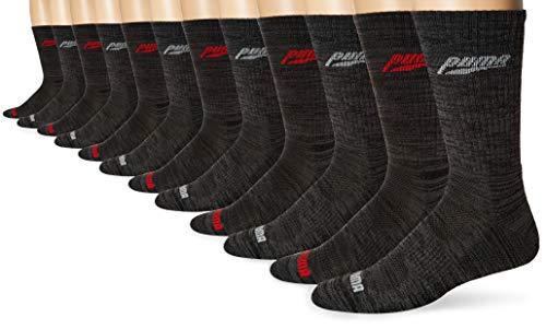 PUMA Men's 6 Pack Crew, Black/Red, Sock Size:10-13/Shoe Size: 6-12