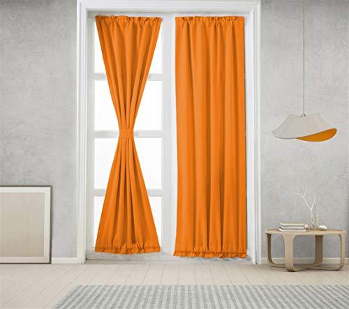 Icegrey Verdunkelung Französische Türvorhänge Gardinen Wärmeschutz & Geräuschreduzierung für Zimmer Orange, 63,5x101,6cm
