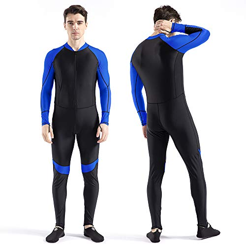 COPOZZ Dive Skin, Diving Snorkeling Surfing Spearfishing Rash Guard-Full Body UV Protection - for Men Women Youth Thin Wetsuit Jellyfish Skin (Black Blue, XX-Large for Men)