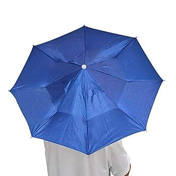 Ogquaton 1 PCS Pliable Anti-UV Parapluie Chapeau avec Sangle Réglable Multi-Fonction Parapluie Cap Écran Solaire Cap pour La Pêche Randonnée Camping Bleu Foncé
