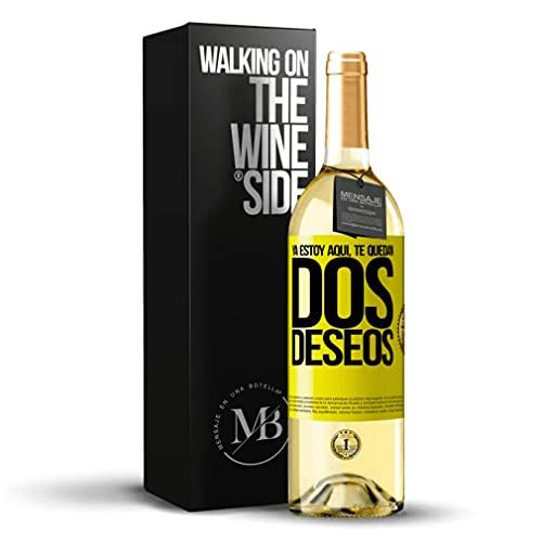 «Ya estoy aquí. Te quedan dos deseos» Mensaje en una Botella. Vino Blanco Premium Verdejo Joven. Etiqueta Amarilla PERSONALIZABLE.