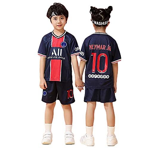 Camisa de fútbol Paris 10# Neymar 2020-2021 Uniforme de fútbol, Jersey de Juego, Desgaste de la formación, Jersey de fútbol para niños + Calcetines Cortos (réplic blue-20