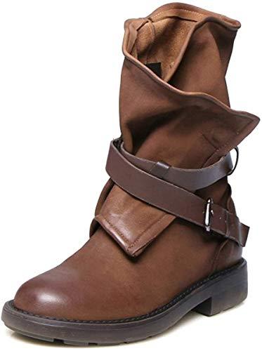 Minetom Stivali Donna Scarpe Autunno Inverno retrò Pelle Casual Ankle Boots Stivaletti Tacchi Bassi Stivali da Moda Marrone 39 EU