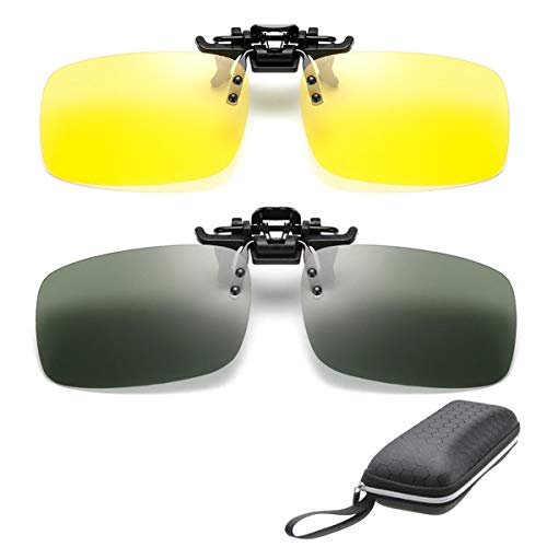 2 Pairs Sunglasses Clip On Flip Up Night Vision Glasses Anti Glare Polarized for Men Women UV400 Best for Driving with box
