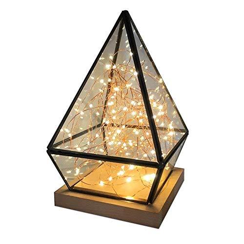 HTL Lámpara de Lectura Iluminación Decorativa la Creatividad Llevó la Lámpara de Escritorio Interruptor de Botón de Cristal Luz de la Noche, para el Dormitorio, Oficina, 14X25Cm