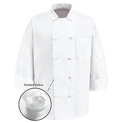 350 Chef Apparel 10 Knot Button Chef Coat-Easy-Care Twill,White,XX-Large