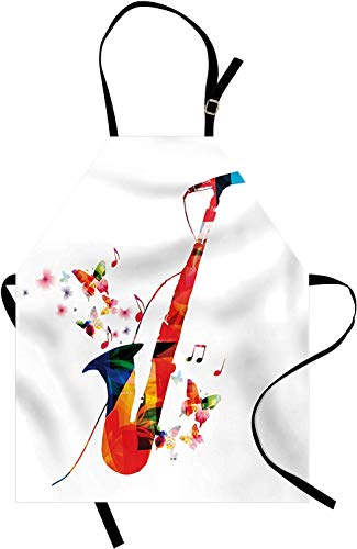Elvoes Music Apron, Jazz Theme Colorful Saxophone with Microphone with Butterfly Orchestra Harmony Design, Unisex Kitchen Bib with Adjustable Neck for Cooking Gardening, Adult Size, Red White