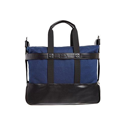 Vegan Leather Navy Canvas Med Weekender Bag - Antonio