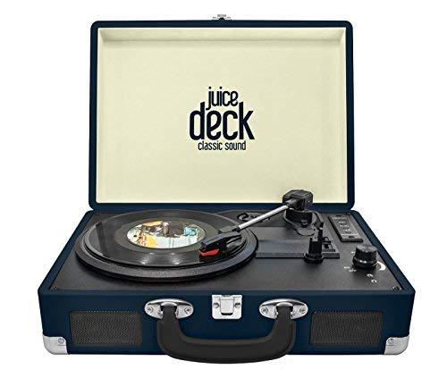 Juice Deck - Reproductor de discos de vinilo con altavoces integrados, funciones de tarjeta USB y SD