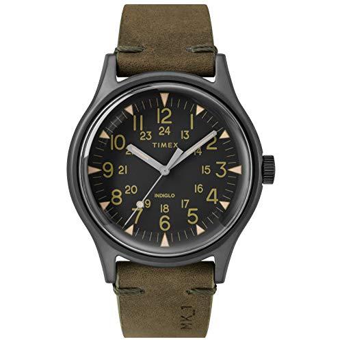 Timex Relógio Masculino MK1 40 mm Aço Inoxidável Analógico Quartzo Pulseira de Couro, Verde, 20 Casual (Modelo: TW2R97000VQ)