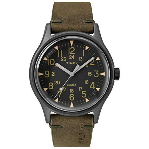 Timex Men's MK1 40mm Stainless Steel Analog Quartz Leather Strap, Green, 20 Casual Watch (Model: TW2R97000VQ)