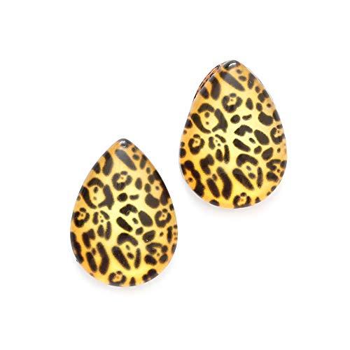 Idin - Orecchini a clip a goccia in vetro con stampa leopardata (circa 18 x 13 mm)
