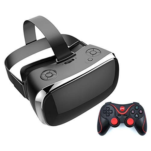RVTYR VR Brille Neues All in One Virtual Reality 5,5 Zoll 2K 2560 * 1440 Display-Quad-Core-WiFi 3500Mah Blu-ray-Schutz Senden Gamepad 360 Grad;Panoramablick vr Brille (Color : Black)