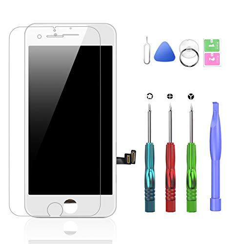 HTECHY Ersatz für iPhone 7 Plus Display Weiß Komplett, Retina Display LCD Touchscreen Bildschirm mit Displayschutz, Aufgerüstetes Reparaturset und Reparaturanleitung (5.5 Zoll)