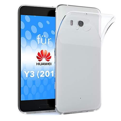 EAZY CASE Hülle kompatibel mit Huawei Y3 (2015) Schutzhülle Silikon, Ultra dünn, Slimcover, Handyhülle, Silikonhülle, Backcover, Durchsichtig, Klar Transparent