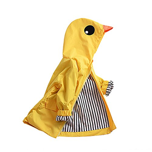 SwissWell Kinder Regenjacke Langarm Schneejacke Outdoor wasserdichte Winddicht Hooded Regenmantel Suit Kid Windbreaker Rainwear Jungen Kapuzen Jacke Gelb 110cm