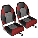 Leader Accessories A Pair of Deluxe High Back Folding Fishing Boat Seat (2 Seats) (Red/Charcoal/Black)