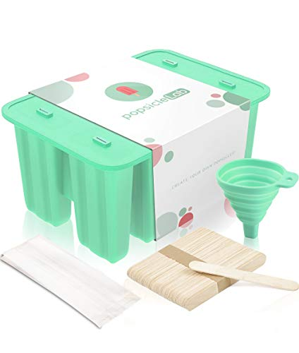 Premium Popsicle Molds, Food Grade BPA Free Silicone, Homemade Popsicles, Ice Pops Holders Shapes, Ice Pop Maker Trays with 50 Popsicle Sticks, 50 Popsicle Bags and Silicone Funnel (by popsicleLab)