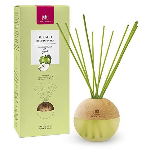 CRISTALINAS Ambientador Mikado Esfera Premium Sin Alcohol. Duración +16 semanas. Pack 2x180 ml. Aroma Manzana.