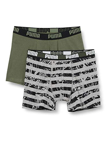 PUMA Boys All-Over Print Collage Stripe Kids' Boxers (2 Pack) Boxer Shorts, Army Green, 146-152 (2er Pack)