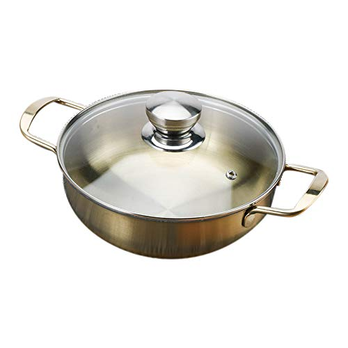 Lopbinte Utensilios de Cocina de Acero Inoxidable para Uso Diario con Tapa, DiáMetro Interior de 20 Cm, Olla Caliente, Accesorios para Cocinar
