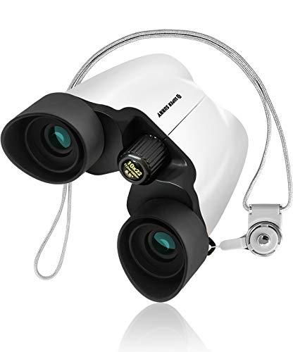SuperSunny 双眼鏡 コンサート 10倍 10x22 Bak4 アイカップでブレない 軽量 (ホワイト)