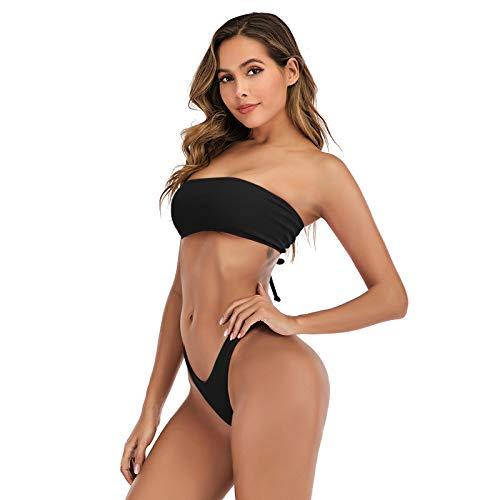 Bandeau Bikini Set para mujer de cintura alta, push-up, sexy, traje de baño de dos piezas, envoltura al cuello, bikini dividido para playa, vacaciones en la playa, un solo color #01_negro ceniza M