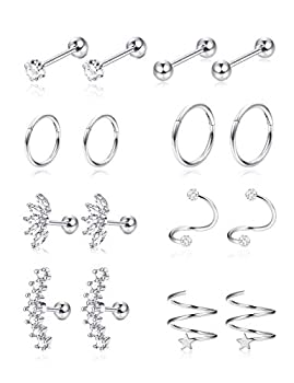 Jstyle 8Pairs Stainless Steel Helix Cartilage Tragus Stud Earring Hoops for Women Grils CZ Barbell Piercing Earrings Stud Body Piercing Jewelry 16-18G