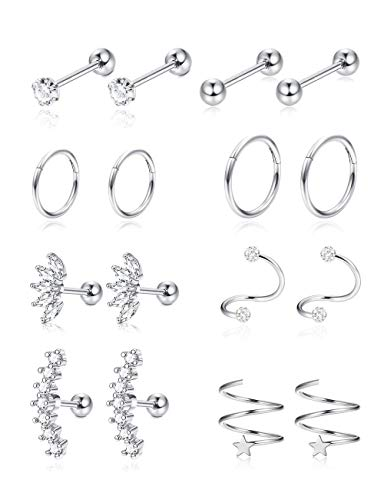 Jstyle 8Pairs Stainless Steel Helix Cartilage Tragus Stud Earring Hoops for Women Grils CZ Barbell Piercing Earrings Stud Body Piercing Jewelry