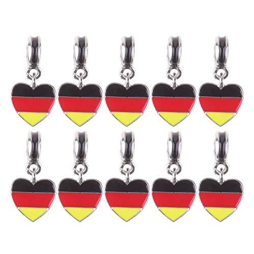 PRETYZOOM Anhänge Charm Legierung Herz Flagge DIY Armband Handkette Schmuck Zubehör Schlüsselzubehör für Schmuckherstellung Club 10St.(Deuschland)